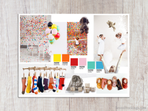 A mood board for a kid's fun-wear brand that is all about the wonder and joy of being a child.