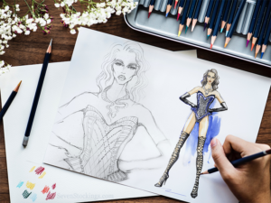 Does a corset make you feel like a superhero? We were excited about working Wonder Woman into a corset sketch.