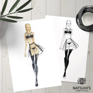 This lovely lingerie drawing is based on a client's fashion design.
