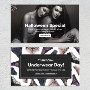 Halloween and Underwear Day banners for a lingerie brand website.