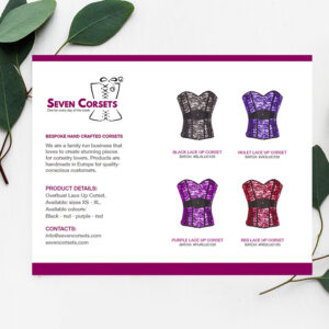 A simple yet impactful line sheet developed for a corsetry company.